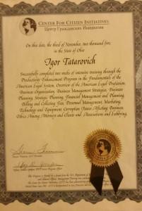 Татарович И.А. Сертификат обучения по программе Центра гражданских инициатив в штате Мериленд США