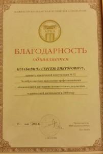 Шлабович С.В. Благодарность за добросовестное выполнение профессиональных обязанностей и достижение положительных результатов
