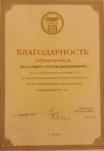 Шлабович С.В. Благодарность за высокое профессиональное мастерство